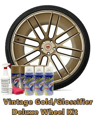 Plasti Dip Metallic Vintage Gold Glossifier Deluxe Wheel Kit 11oz Aerosol Cans