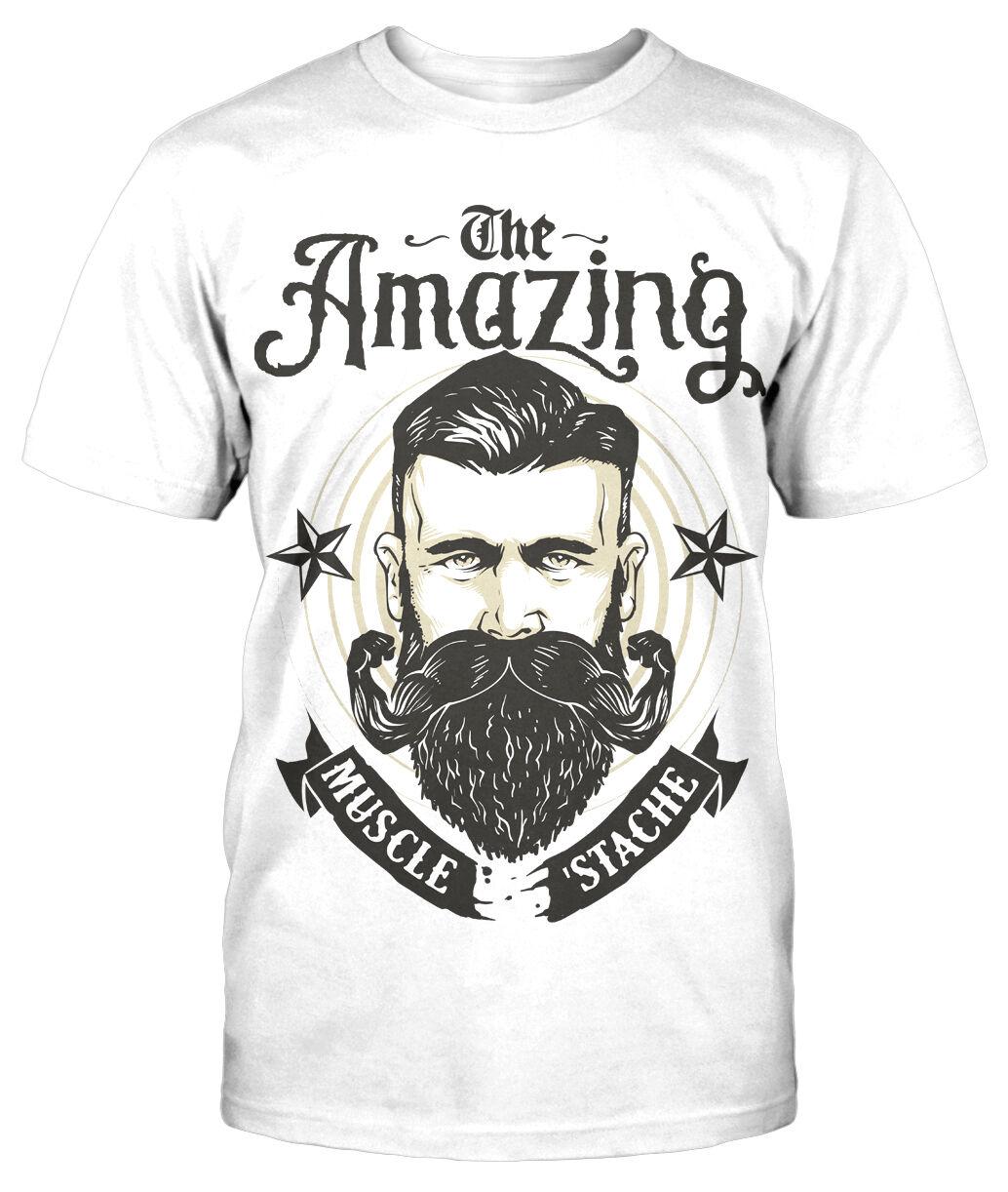 Amazing strong Beard T-Shirt Fun Funshirt Sprüche Bart Message Muscle Stache