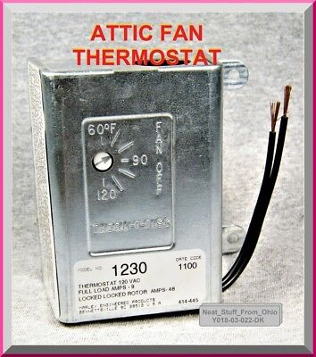 Attic Fan Thermostat Line Voltage Cooling Thermostat 60f-120f 15f Diff