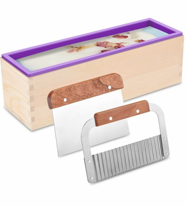 Top Silicone Soap Molds Kit 42 Oz Flexible Rectangular Wood Mold  2 Cutters New