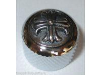 Q-parts Metall knopf Dome Potiknopf knob chrom vines