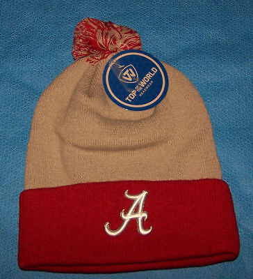 One Size Mens Adult Top of the World Alabama Crimson Tide Knit Hat Beanie - Crimson Knit Beanie