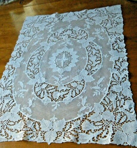 Old Table Scarf combo cotton Mech & Schiffli Lace large white fine England