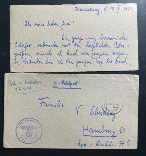 1941 Oranienburg Germany Concentration Camp Waffen SS Guard Cover To Hamburg - $85.00