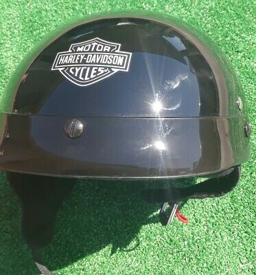 Harley Davidson Motorcycle Half Helmet -  Large Black Skyline With Visor