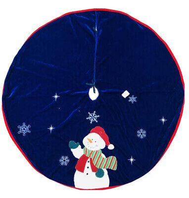 44 In Red Blue Vevet Snowman Christmas Tree Skirt