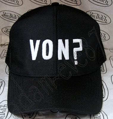 Von Dutch Baseball Cap Von? Embroidered In Front In White Black /black Mesh