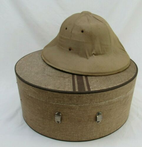 Vintage Hat Box round case with Pith Helmet 1930s 1920s