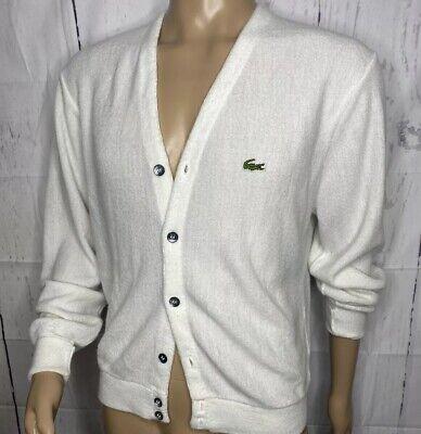 Vintage IZOD LACOSTE Cardigan Sweater Retro 80s 90s Off White Men M Alligator