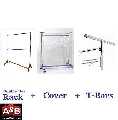 Z Racks Cover Clear Plastic Orange Rack Double Bar Clothing Garment Clothes