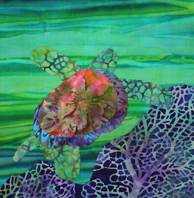 Turtle Fabric Quilt Square Green Ocean Purple Reef Sea Batiks Beach Panel ()