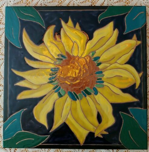 "One Hand Glazed Art Ceramic Large Sunflower Tile 12""X 12"" Wall Table Elaine Cain"