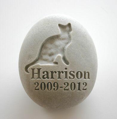 Cat Pet Memorial Custom Engraved Memorial Stone Pet Loss Personalised Kitty - CA$34.00