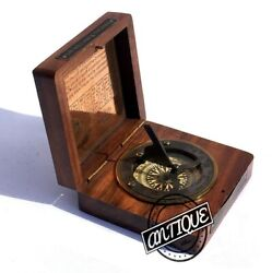 Sundial Clock Compass Wood Box Vintage Desk Clocks Marine Decor Gifts Men/Women