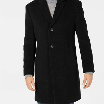 $424 Nautica Men's Black Overcoat Peacoat Wool Jacket Warm Winter Coat Size 42L
