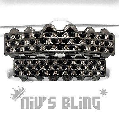 Iced Bling Hip Hop Grillz (Bling Out Iced Gunmetal GRILLZ Checkered CZ Tooth Mouth Teeth Cap Hip Hop Grills)