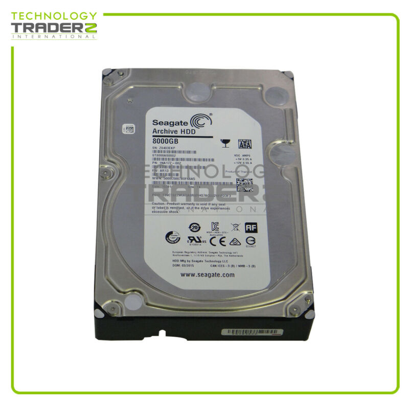 """ST8000AS0002 Seagate Archive 8TB SATA 5.9K 128M 6G 3.5"""" Hard Drive * Pulled *"""