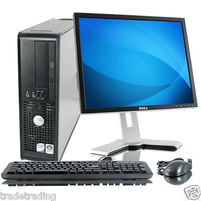 """DELL DUAL CORE DESKTOP PC & 17"""" TFT COMPUTER WITH WINDOWS 7 & WIFI & 2GB"""