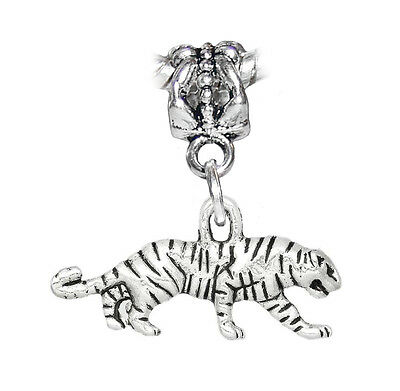 - Tiger Wild Animal Zoo Safari Park Dangle Charm for Silver European Bead Bracelet