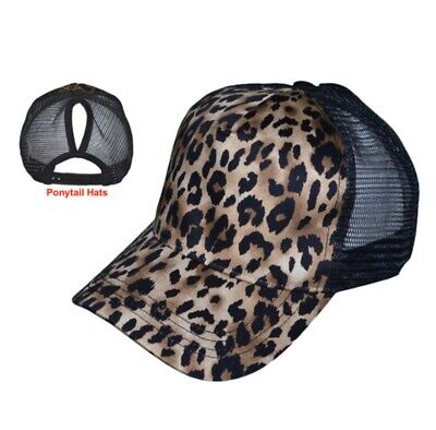 Women's Ponytail Leopard/ Animal Print Mesh Trucker Cap-  Messy High Bun Black High Cap Print