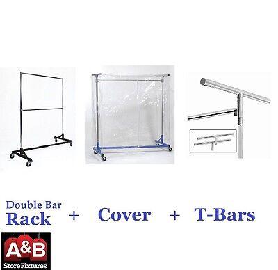Z Racks Cover Clear Plastic Black Rack Double Bar Clothing Garment Clothes