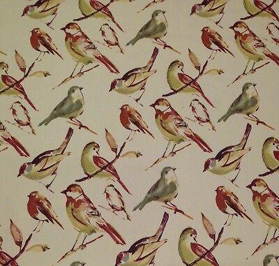 "RICHLOOM BLUEBIRD SPICE RED 100% COTTON BIRD WATCHER FABRIC BY THE YARD 54""W"