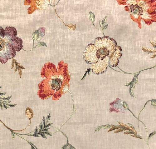 COLEFAX AND FOWLER Pembury Linen Red Blue Floral Embroidery Remnant New