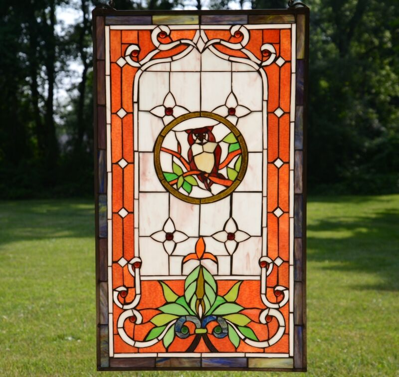 "20"" x 34"" Large Handcrafted stained glass window panel owl"