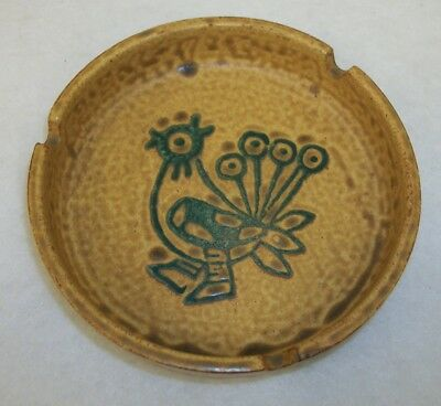 Vintage Mid Century Art Pottery Ashtray with Rooster Design