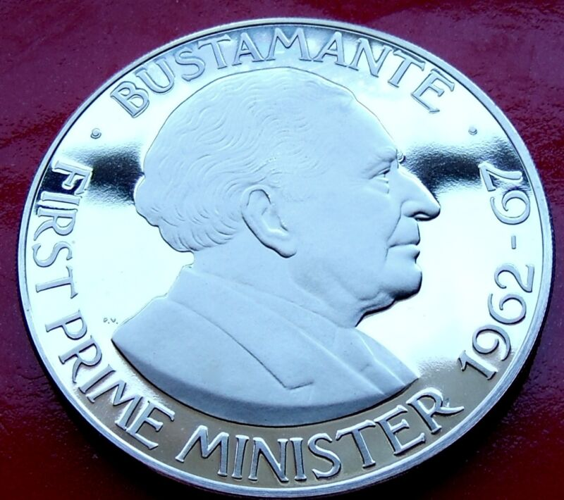 VERY NICE Heavy Frosted Cameo 1970 JAMAICA PROOF ONE DOLLAR COIN, Bustamante