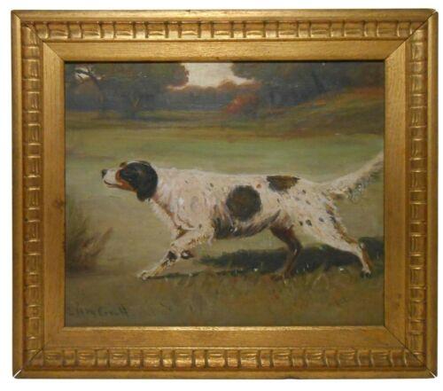 L. H. McCONNELL 1910 SIGNED ENGLISH SETTER DOG SPORTING OIL ON BOARD, ORIG FRAME