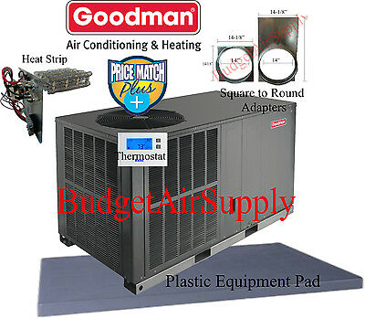 3 Ton 14 seer Goodman HEAT PUMP Package Unit GPH1436H41+PAD+ADAPTERS+Heat+tstat+