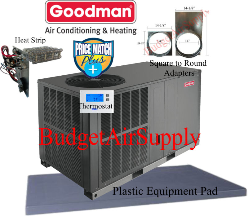 5 Ton 14 Seer Goodman Heat Pump Package Unit Gph1460h41+pad+adapters+heat+tstat+