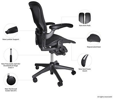 Fully Loaded Herman Miller Classic Aeron Chair Size B Lumbar Hardwood Caster