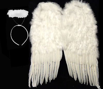 Nice Large White Feather Wings + Halo Halloween Costume - HUGE 36