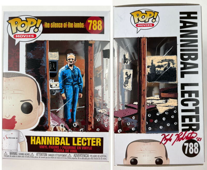 HANNIBAL LECTER HAND PAINTED Funko POP SILENCE OF LAMBS Artwork Sketched Horror