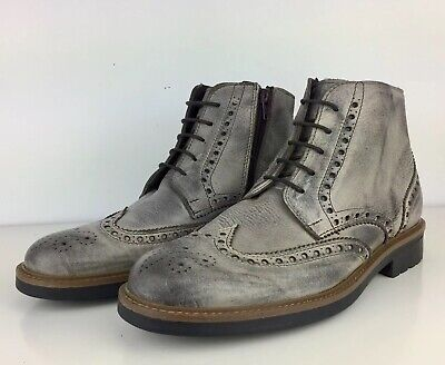 Rodolfo Valeri Men Wingtip Leather Boots Side Zip Size 8 US Made In Italy ()