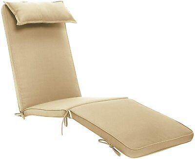 Garden Recliner Steamer Chair Cushion Pad with Head Pillow Beige Plant Theatre