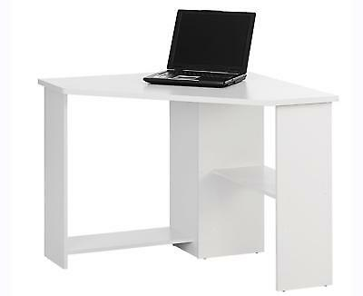 Corner Table White Small Computer Desk Wooden Study Workstation Laptop Desktop