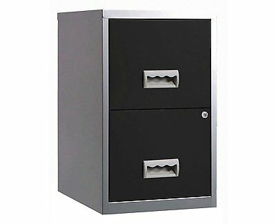 2 DRAWER 'PIERRE HENRY' STEEL SILVER BLACK FILING CABINET A4 / NEW +FREE DEL 24h