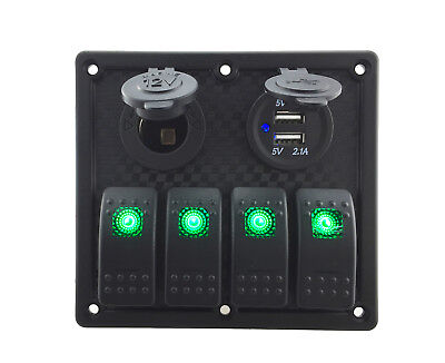 Multi-function Waterproof 4 Gang Switch Panel 12v24v For Car Rv Boat Green Led