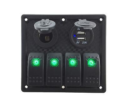 Multi-function Waterproof 4 Gang Switch Panel 12v24v For Car Rv Boat Green Led
