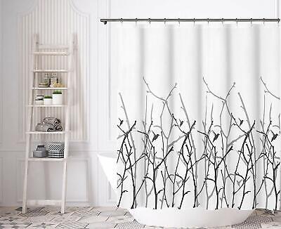 Black White Gray Nature Artistic Fabric Shower Curtain ()