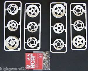 Tamiya Grasshopper Frog Hornet or Sand Scorcer 4 Rim Wheel Set With Screw Bag A