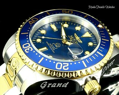 Invicta 47mm Grand Diver AUTOMATIC BLUE Dial Two Tone Gold Tone Bracelet Watch