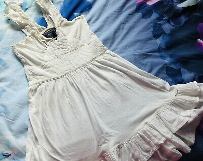 SUPERDRY - WOMENS WHITE SUMMER DRESS - UK SIZE XS EXTRA SMALL - 100% COTTON