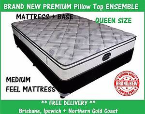 NEW Queen Size Bed Ensemble PREMIUM Pillow Top Mattress + Base New Farm Brisbane North East Preview
