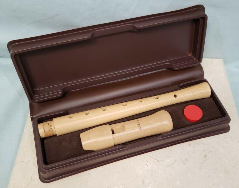 Vintage Moeck Soprano Recorder Single Holes, Luxor Maple Wood a=880 Original Box