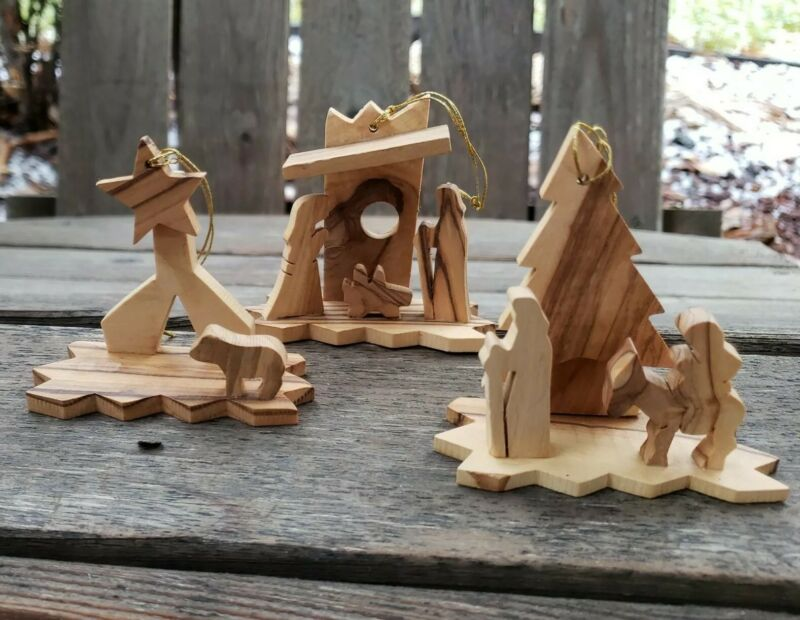Christmas Nativity Ornaments Olive Wood Miniature Set of 3 Silhouette 3D Relief