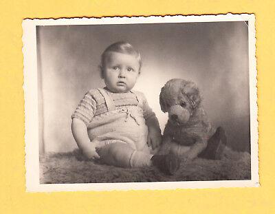 um 1948 Echtphoto - Klein ROLF mit großem Stoff Hündchen